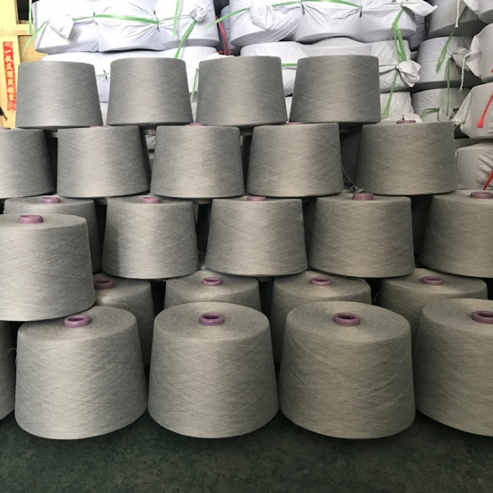 China Recycle NE 30/1 Polyester Spun Yarn Melange 5% black
